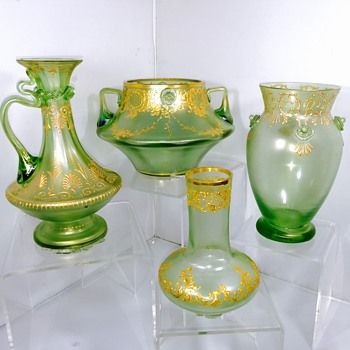 Early Loetz Olympia Prunts Enamelled Vase & Friends