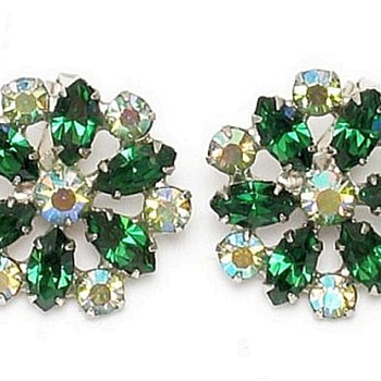 Emerald Green & Aurora Borealis  Earrings By B. David - Costume Jewelry