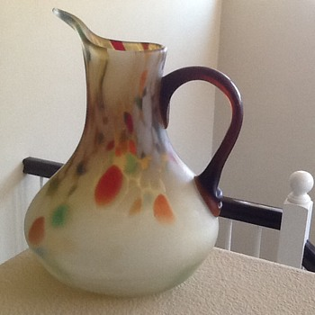 Czech Spatter Glass Jug?