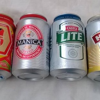 Mozambique, Namibia and South African beer cans