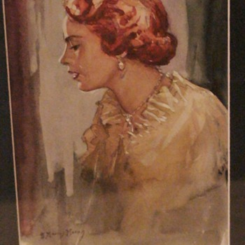 Small Watercolor Portrait Of A Lady  By Moray - Visual Art