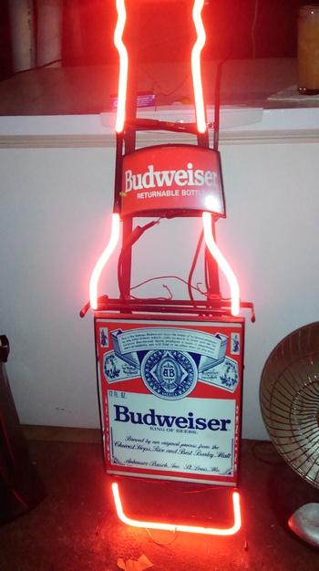 Large Budweiser Returnable Bottles Neon Bottle Wall Sign