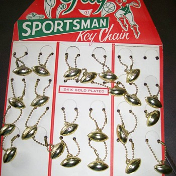 1950's Football Key Chains on display card 24kt gold plated