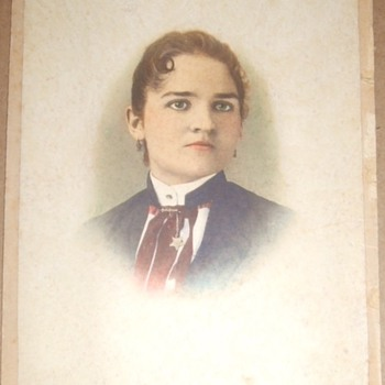 Beautiful woman in tinted cabinet card