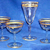 Crystal goblet and champagne Glasses - gold rimmed