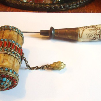 Prayer Wheel!  I believe old! Ivory, bone, ? coral?, Turquoise, ? - Asian