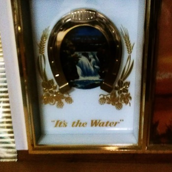 "Vintage Olympia Goodluck ""Its The Water""  lighted motion beer sign - Breweriana"
