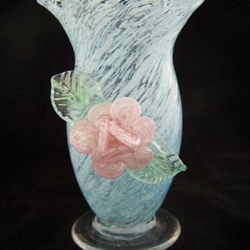 Applied Glass Tornado Style Splatter Glass Vase.  Stevens Williams? - Art Glass