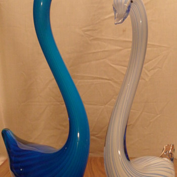 Blue & White Tall Swans - Art Glass