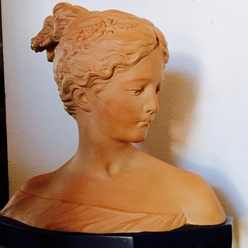 "Vintage? Terracotta Lady Head Bust Signed "" P . Garellio 1837"" - Art Pottery"
