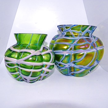 Art Nouveau Kralik Threaded Iridescent Vase Bowls (Mini & Mega :) - Art Glass