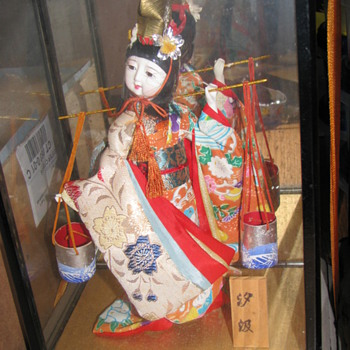 Two Antique Japanese Giesha Dolls in Original Display Cases - Dolls