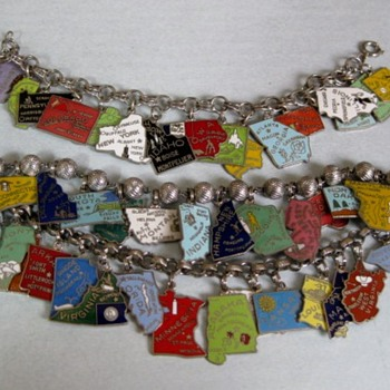 1960's-70's enamel state charm bracelets