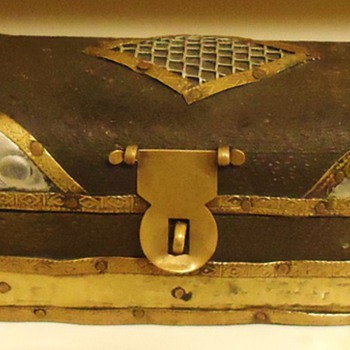 "OLD Treasure Chest, 7"" long! Silver, Brass, Copper, and Wood with great Patina - Folk Art"