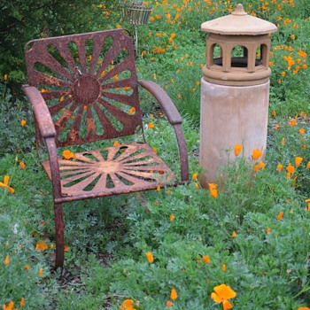 Cool old Bouncy Lawn Chair and another Gladding McBean Chimneycap - Furniture