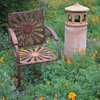 Cool old Bouncy Lawn Chair and another Gladding McBean Chimneycap