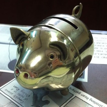 Rhinestone Bedecked Metal Piggy Bank