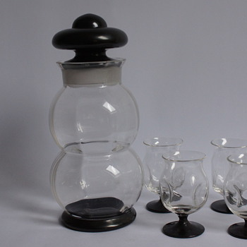 Bohemian Cocktail Shaker and Glasses - Art Glass