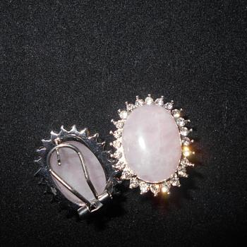 Rose quartz and rhinestone earrings - Fine Jewelry