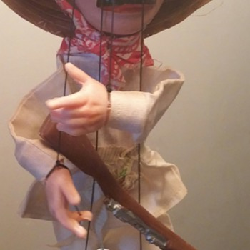 "unknown maker, 16"" tall riffle totting marionette - folk art"