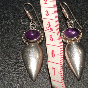 Antique/vintage amerthyst and silver earrings