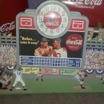coca cola baseball  clock