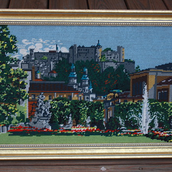 Needlepoint framed Castle with gardens and fountains - Rugs and Textiles