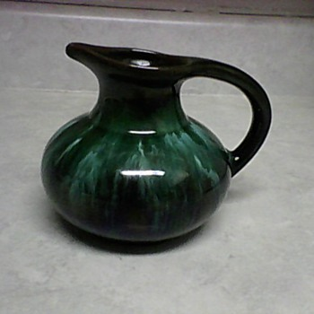 GREEN DRAB PITCHER - Art Pottery