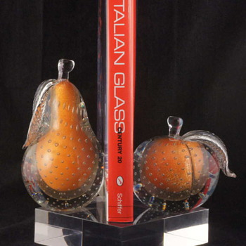 Wonderful Barbini Fruit Bookend Set - Good Enough to Eat!! - Art Glass
