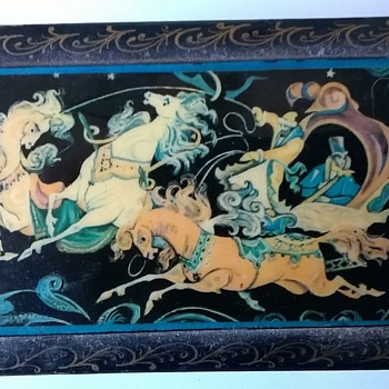 "Russian Lacquered Fairy Tale Troika ""Three Horses"" Trinket Box Flea Market Find 1 Euro ($1.07))"