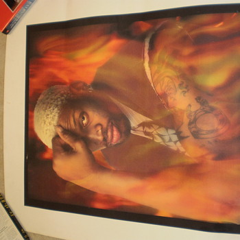 Dennis Rodman Thinker Pose Lithograph - Basketball