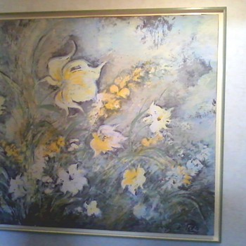 Signed Dietrich Grunewald Floral Serigraph - Visual Art