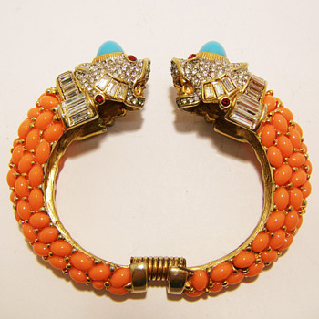 Kenneth Jay Lane Turquoise and Coral Double Tiger Bangle - Costume Jewelry