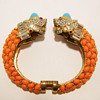 Kenneth Jay Lane Turquoise and Coral Double Tiger Bangle