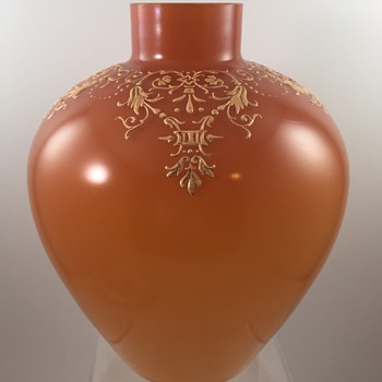 Early Loetz Orange Opal Vase, st PN II-1907, DEK IV/202, ca. 1890s - Art Glass