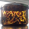 Antique/ vintage Tortoise shell art glass, lidded pot.