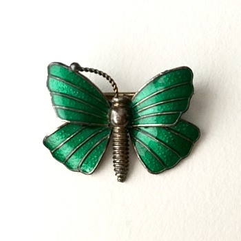 Sterling silver butterfly brooch