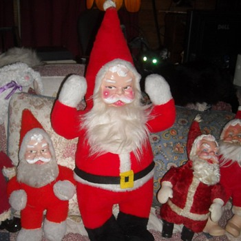 Large Plush Santa Doll Plastic Face - Christmas
