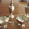 2 Sets of Antique Salt Bowl, Spoon and Pepper Shaker.  Victorian.