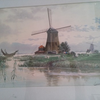 Watercolor Windmill - Visual Art