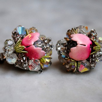 Vendome aurora borealis enamel flower earrings - Costume Jewelry