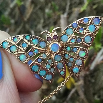 Gold Opal Butterfly Necklace. - Fine Jewelry