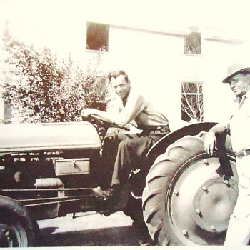 Photograph for ThriftyGypsy on Ford tractors,  dad and grandfather on our farm with I think 1940's tractor!