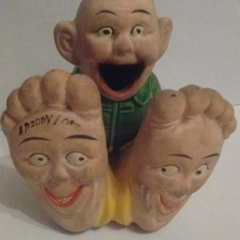 1920's/30's Bisque funny face incense burner - Figurines