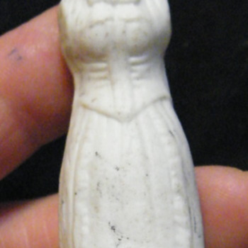 "Antique? Unglazed 4"" doll with both Man and Woman sides"