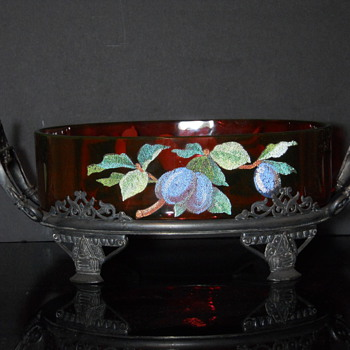 Cranberry cased in vaseline with coralene decoration. Unknown maker