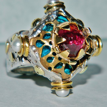 Ornate Medieval/Victorian Ruby/Rubellite and Pearl Silver and 24k Gold Ring - Fine Jewelry