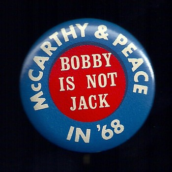 McCarthy 1968 Peace Candidate pinback button's