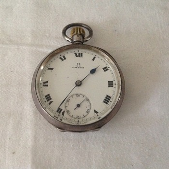 1924 silver cased Omega pocket watch.