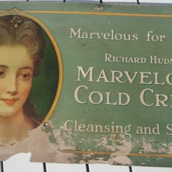 Pre-1920&#039;s Cardboard Trolley Cosmetic Product Sign
